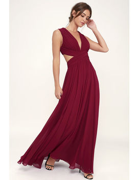 Vivid Imagination Wine Red Cutout Maxi Dress by Lulus