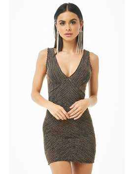 Metallic Striped Mini Bodycon Dress by Forever 21