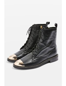 Axel Lace Up Crocodile Boots by Topshop