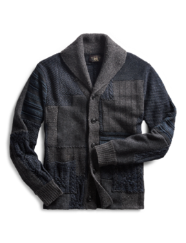 Indigo Patchwork Cardigan by Ralph Lauren