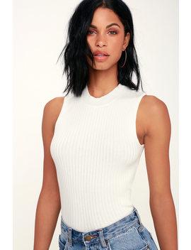 Confidante White Sleeveless Mock Neck Crop Top by Lulus