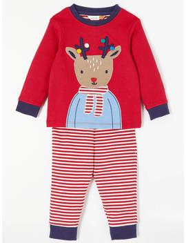 John Lewis Baby Christmas Reindeer Pyjama Set, Red by John Lewis