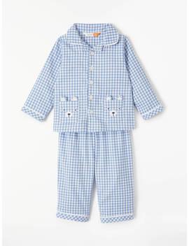 John Lewis & Partners Baby Bear Pocket Woven Pyjamas, Blue by John Lewis &Amp; Partners