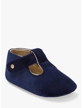 John Lewis & Partners Baby Velvet Look T Bar Shoes, Navy by John Lewis &Amp; Partners