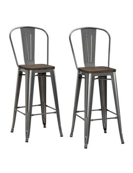 """Dhp Luxor 30"""" Metal Bar Stool With Wood Seat, Set Of 2, Various Colors by Dhp"""