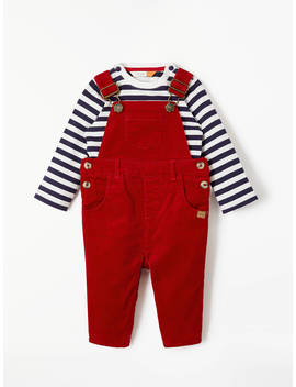 John Lewis & Partners Baby Stretch Cord Dungaree And T Shirt Set, Red by John Lewis &Amp; Partners