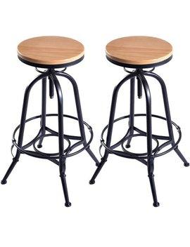 costway-set-of-2-vintage-bar-stools-industrial-metal-design-wood-top-adjustable-swivel by costway