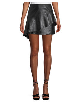 Botan Draped Ruffle Leather Mini Skirt by Joie