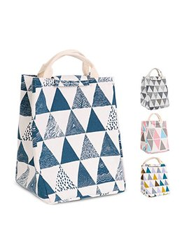 Homespon Reusable Lunch Bags Printed Canvas Fabric With Insulated Waterproof Aluminum Foil, Lunch Box For Women, Kids, Students (Triangle Pattern Blue) by Homespon