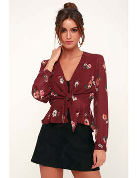 Laney Burgundy Floral Print Long Sleeve Tie Front Top by Astr The Label