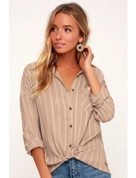 Holt Taupe And White Striped Tie Front Button Up Top by Rvca
