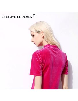 2017  Chance Forever Small Mock Neck Vintage Velvet Short  Sleeve Solid V Neck  Candy Color T Shirts by Chance Forever