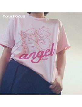 Summer Sweet Girl Cute Kawaii Lolita Pink Baby Angel Print Tshirt Loose Cotton Tee Women by Your Focus