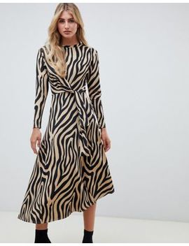 Asos Design Tie Waist Maxi Dress In Animal Print by Asos Design