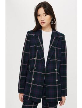 Double Breasted Check Jacket by Topshop
