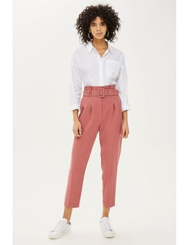 Pink Belted Trousers by Topshop