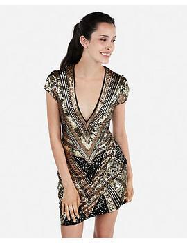 Sequin Cap Sleeve Deep V Neck Mini Dress by Express