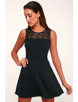 According To Love Black Lace Skater Dress by Lulus