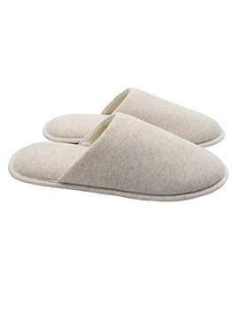 Ofoot Men's Cozy Thread Cloth Organic Cotton House Slippers, Washable Flat Indoor/Outdoor Slip On Shoes by Ofoot