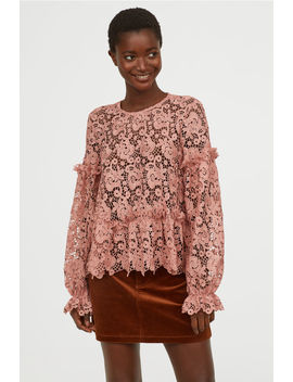 Embroidered Lace Blouse by H&M
