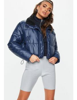 Navy Crop Oversized Puffer Jacket by Missguided