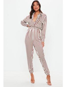 White Satin Striped Utility Jumpsuit by Missguided