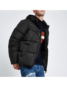Black Hooded Puffer Jacket With Funnel Neck by River Island
