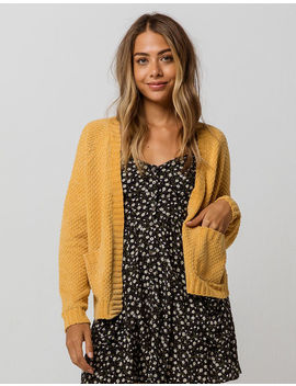 Sky And Sparrow Waffle Chenille Mustard Womens Cardigan by Sky And Sparrow