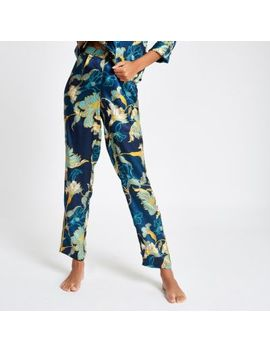 Blue Floral Satin Wide Leg Pyjama Trousers by River Island