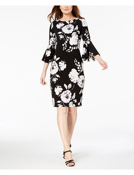 Graphic Floral Bell Sleeve Sheath Dress by Calvin Klein