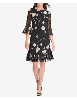 Floral Printed Bell Sleeve Shift Dress by Jessica Howard