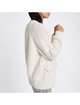 Cream Cable Knit Cardigan by River Island