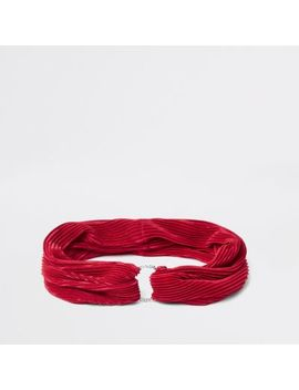 Red Pleated Diamante Pave Circle Headband by River Island