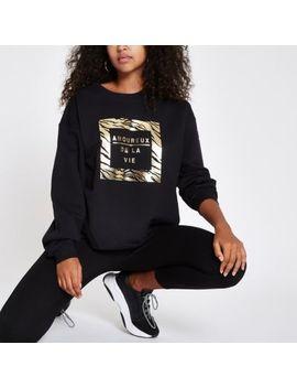 Black 'Amoureux' Gold Foil Print Sweatshirt by River Island