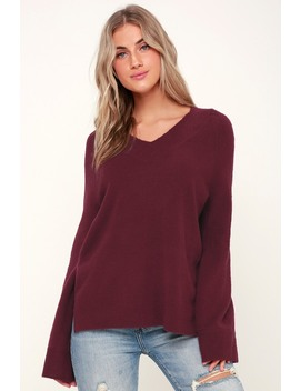 Aliza Burgundy V Neck Bell Sleeve Sweater by Olive + Oak