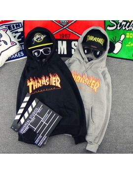 Women Men Hoodie Sweater Hip Hop Skateboard Thrasher Sweatshirts Pullover Coats by Unbranded/Generic