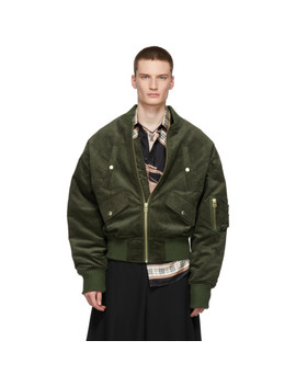 Green Corduroy Bomber Jacket by Landlord
