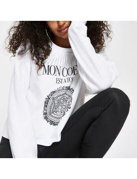White Diamante 'Mon Coeur' Print Sweatshirt by River Island