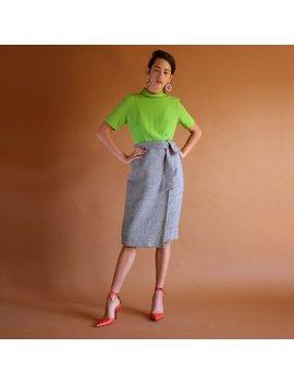 60s Mockneck Dress, Vintage 1960s Mod Dress, Minimal Fall Lime Black Simple Short Sleeve Tweed Dress, High Waist Belted Pencil Skirt Dress by Shop Downhouse