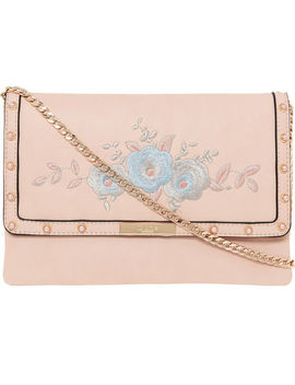 Pink Embroidered Cross Body Bag by Dune