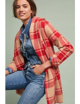 Hooded Plaid Sweater Coat by Field Flower