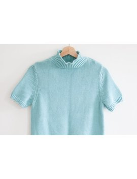 Mock Neck Knit Top / Vtg Short Sleeve Sweater / Vtg Mint Aqua Top / Chunky Knit / Size Xs S by Inherit Shop Vintage