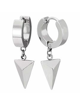 Dangling Triangle Pyramid Huggie Hinged Earrings For Men Women Boys, Stainless Steel, 2pcs by Amazon