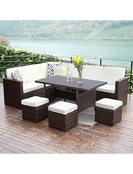 Wisteria Lane Patio Sectional Furniture Set,10 Pcs Outdoor Conversation Set All Weather Wicker Sofa Table Chair Stool,Brown by Wisteria Lane