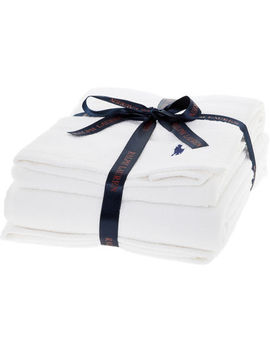 2 Pack White Branded Towels by Ralph Lauren