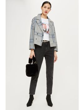 Checked Biker Jacket by Topshop