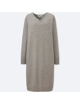 Damen Merinowoll Mix Kleid (V Ausschnitt) by Uniqlo