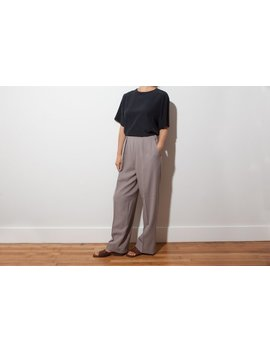 Vintage Beige Pleated Wide Leg Pants / Brown Vintage Wool Trousers / Vtg High Waist Tapered Slacks / Waist 27 by Inherit Shop Vintage
