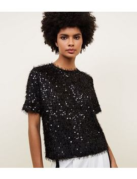 Black Faux Feather And Sequin T Shirt by New Look