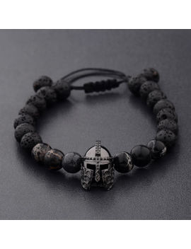 Men Charm Black Spartan Helmet Beaded Natural Stone Adjustable Macrame Bracelets by Dou Vei